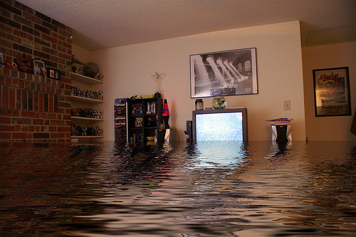 Flooded home that needs flood restoration.